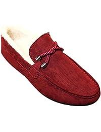 Fuyingda Hombres Mocasines de Ante de Invierno Mocasines Planos con Suela de Goma Zapatos Bajos Zapatos