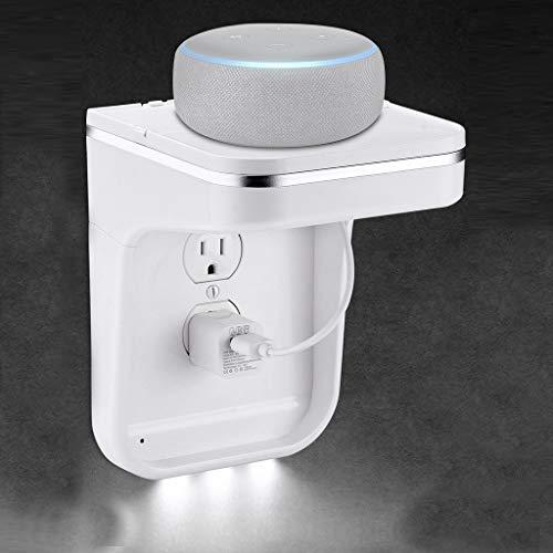 Fcostume Steckdosen Regal Ladestation für LED-Steckdosen Abdeckungen für Google Home für Amazon Echo Dot (Weiß)