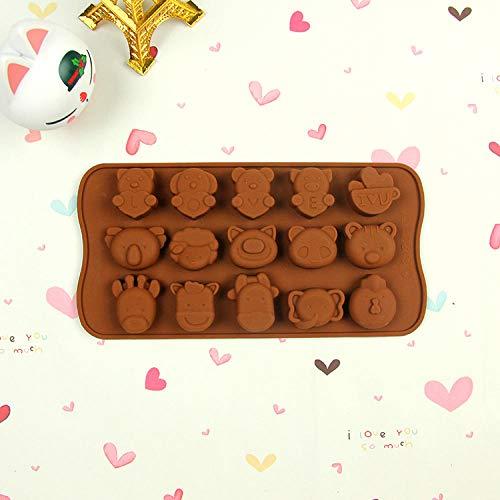 Potlystein Schokoladenform Silikon Backform Liebe Worte Cartoon Tierform Eiswürfel Backenwerkzeuge 3 STÜCKE
