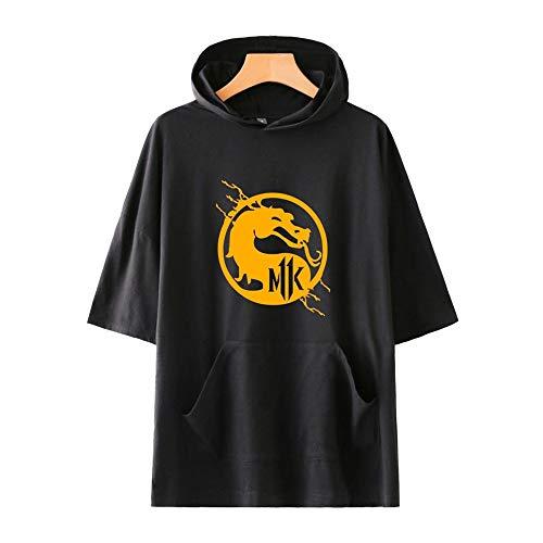 WUDUHUI Mortal Kombat 11 lässig kurzärmeliges T-Shirt mit Kapuze einfache lässige Herren- und Damenmodelle Digitaldruck Freizeit Unisex