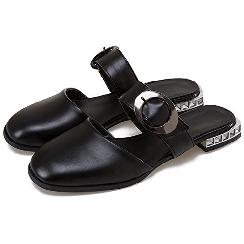 COOLCEPT Femmes Mode Bout Ferme Appartement Mules Mary Janes Chaussures Noir