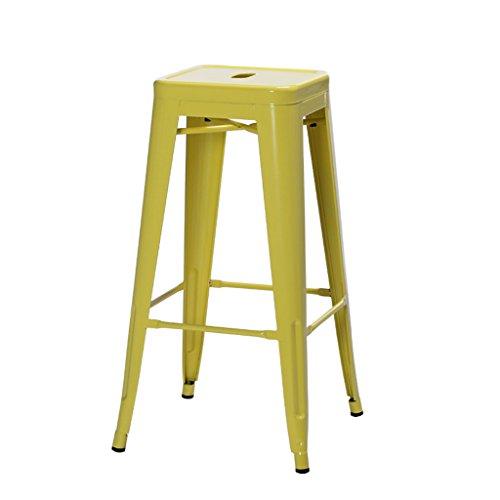 Cs Tabouret Haut Nordique de Style Industriel de Fer Banc de Fer Chaise créative de ménage Circulaire (Color : Yellow)