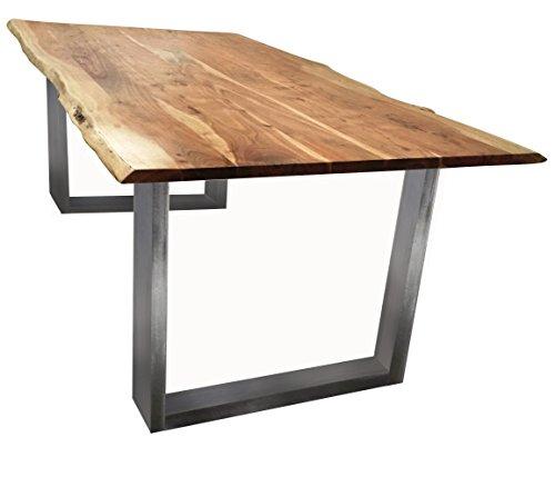 Baumkanten-Tisch Salito 140x80 cm | Esszimmertisch aus massiver Akazie | Baum-Tisch Natur | Metall U-Gestell in Silber