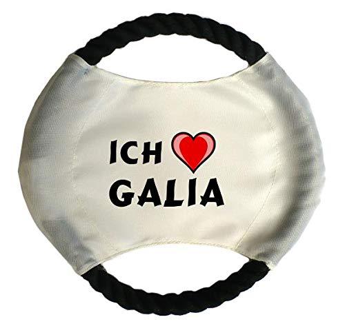Personalisierter Hundefrisbee mit Aufschrift Ich liebe Galia (Vorname/Zuname/Spitzname)