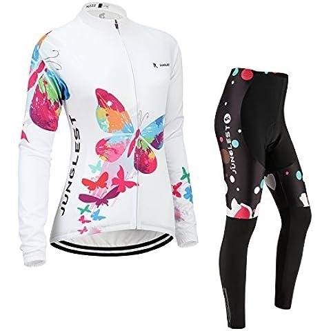 [Cuscino 3D][Tipo:Set[Felpato] taglie:XL] Ciclismo traspirazione traspirante donna manica Jerseys antivento