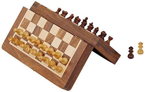 Schachspiel Ultimatives 17.78x17.78 cm Klassisches Holz Reise Schach mit Magnet Staunton Figuren und klappbares Spielbrett - Handgefertigt von Handwerkern in feines Rosenholz mit einem Walnuss-Finish (Machen Figur)