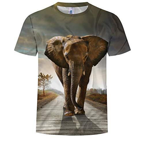 Hombres Camiseta 3D Patrones Impresos Manga Corta Camiseta Camiseta de Manga Corta con Cuello Redondo para Hombres, Estampado 3D de Elefante en Verano, marrón Claro, XXL