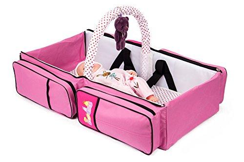 2 in 1 Wickeltasche Pflegetasche Babytasche Reise Babybett Moskitonetz (rosa)