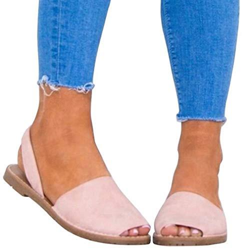 Sandalen Damen Sommer Sandaletten Flachen Frauen Knöchelriemchen Espadrille Plateau Flip Flop Sommersandalen Bequeme Elegante Schuhe Schwarz Weiß Rosa Gr.34-44 PK40