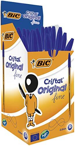 Bic cristal original fine penna a punta fine da 0.8 mm, confezione da 50 pezzi, colore blu