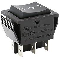 heschen Rocker Interruptor ON-OFF-ON DPDT 6Terminales 16A 250VAC negro 2unidades