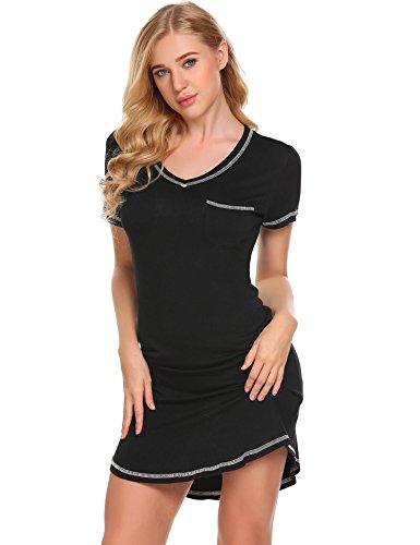 Ekouaer Damen Nachthemd Kurzarm Sleepshirt Nachtwäsche kurz Nachtkleid aus Baumwolle (Nachtwäsche Kurz)