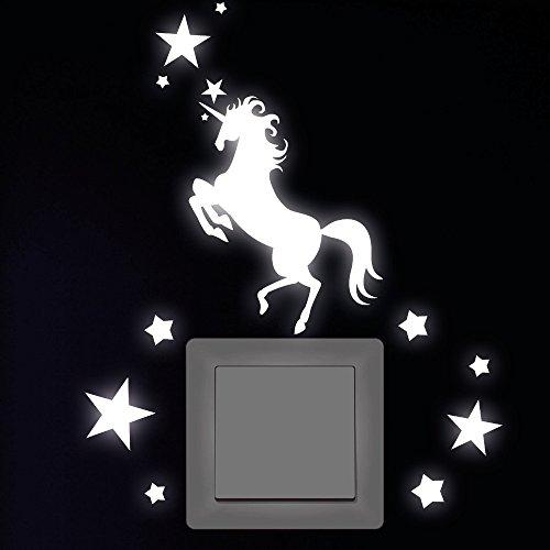 """Wandtattoo Loft """"Einhorn mit 12 Sternen"""" Leuchtaufkleber für Steckdose, Lichtschalter oder die Wand - Wandtattoo fluoreszierende leuchtende Sticker"""