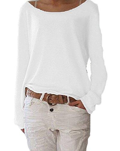 ZIOOER Damen Pulli Langarm T-Shirt Rundhals Ausschnitt Lose Bluse Hemd Pullover Oversize Sweatshirt Oberteil Tops B Weiß XL