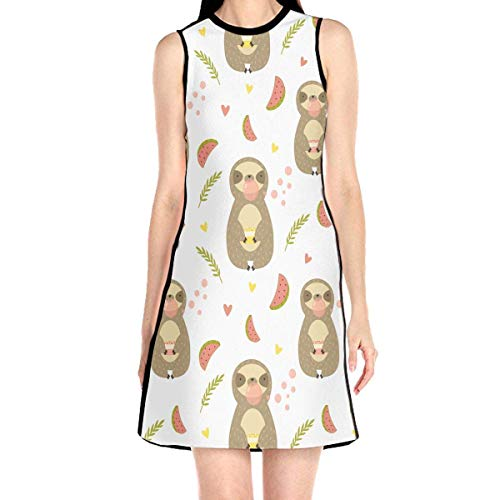 Acme&Real Sloth Chewing Bubble Gum Pattern Women's Sleeveless Dress Chemise Frock Ladylike Crew Neck Dress Without Sleeve -