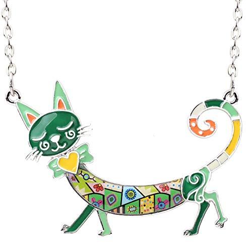 Emaille Kätzchen Katze Choker Halskette Legierung Anhänger Halsband Tier Zubehör Schmuck für Frauen, metall, grün, Einheitsgröße