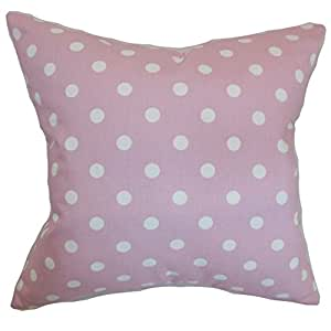 """The Pillow Collection Nancy Polka Dots Pillow, 20"""" by 20"""", Pink/White"""