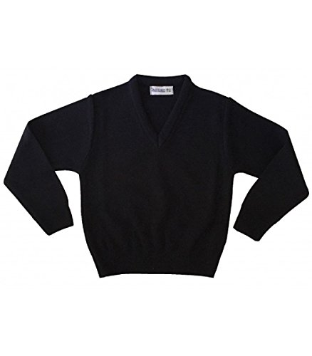 Jersey de uniforme escolar cuello pico. Alta calidad con tejido reforzado de doble frontura. (12 años, Azul marino)
