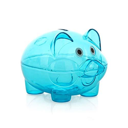 (Kurphy Blauer transparenter Plastikgeld-Einsparungs-Kasten-Kasten-Münzen-Sparschwein-Karikatur-Schwein geformt)