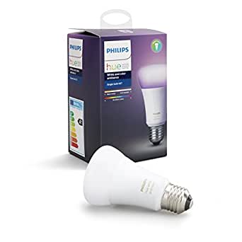 Philips Hue White and Colour Ambience A19 E27 60W Equivalent Dimmable LED Smart Bulb (Compatible with Amazon Alexa, Apple HomeKit and Google Assistant)
