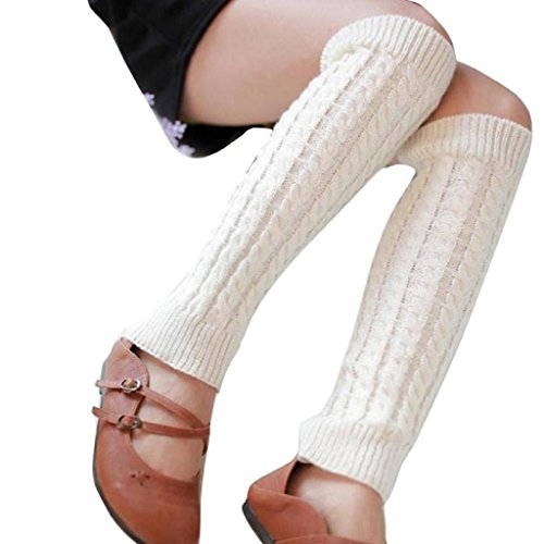 Vidlan Damen Winter Gestrickte Crochet Lange Socken (A) (Kinder-schuhe Kabel-stricken)