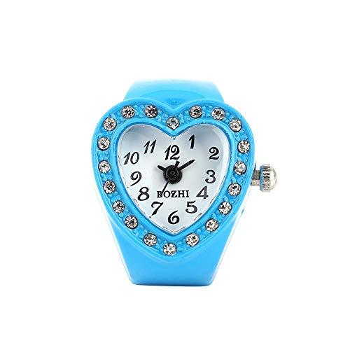 Luckhome Armbanduhr Für Herren Damen Slim Uhr Frauen Herz Ring Finger Tabellen Elastische Quarz Bozhi Ringuhr Uhrfingertabelle Quarz-Uhr(Himmelblau) -