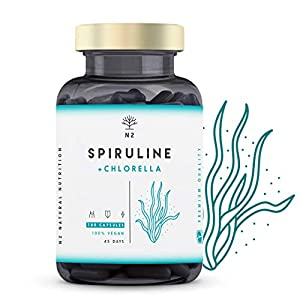 Spirulina Clorella Compresse 1250mg Antiossidante Proteine Fortifica Sistema Immunitario Probiotico Riduce Stanchezza Elimina Metali Pesanti 180 Capsule Vegetali Certif VEGANO CE.N2 Natural Nutrition 3 spesavip