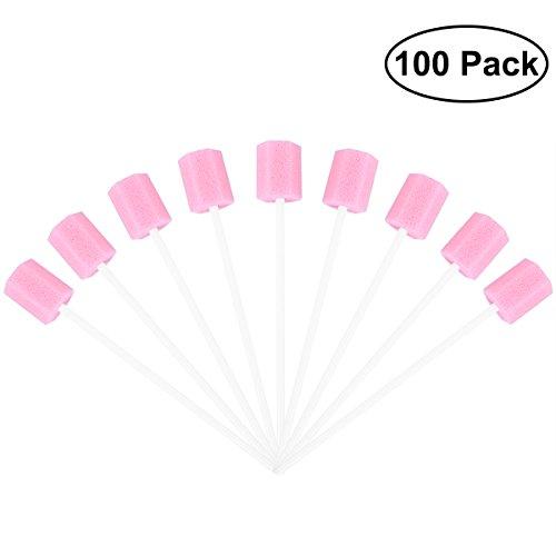 rosenice tampones dentales para la boca 100unidades tampones dentales desechable para la limpieza de los dientes Almohadilla para la limpieza de los dientes (Rosa)