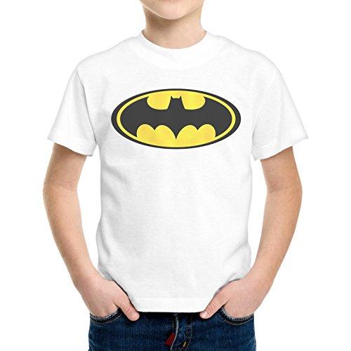 T-Shirt Bambino Ragazzo Logo Batman Cartone Animato Vintage -