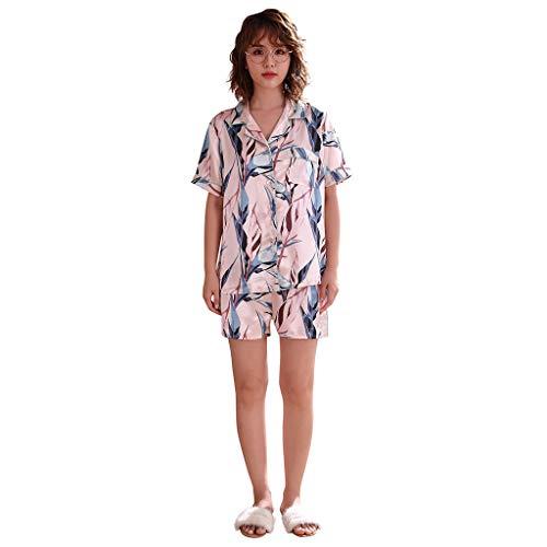 Darringls Damen Nachtwäsche Sexy Sleepwear Frauen Simulation Silk Printing Pattern Pyjamas Nachtwäsche Nachtwäsche Set Dessous Frauen Unterwäsche Bademantel Orgenmantel Schlafanzug Sets
