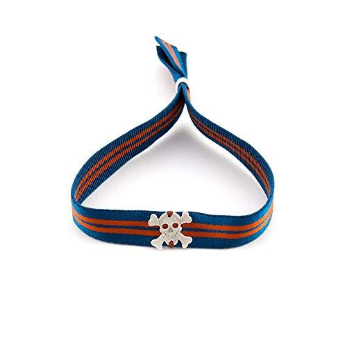 (Verstellbares Unisex Armband mit Gummiband und Totenkopf. Surf Mann Armband. Armband Frau Yoga. Retrostyle.Vatertagsgeschenk. Papa Geschenkideen)