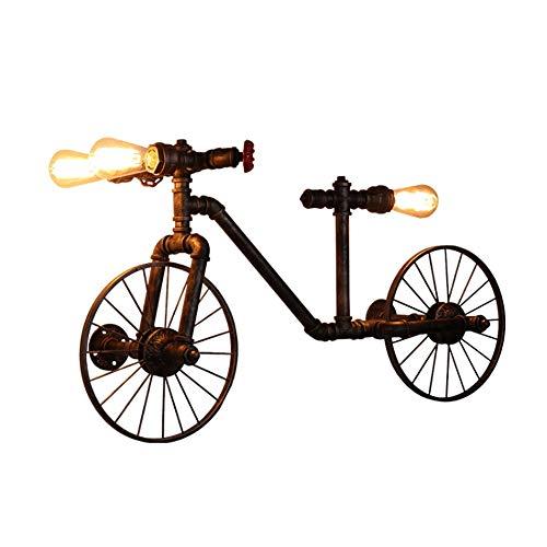 Schmiedeeisen Fahrrad Wandleuchte 3 Licht Steampunk Wasserleitung Industrielle Dekorative Wandleuchte E27 Antike Edison Glühbirne Cafe Club Bar Kreative Persönlichkeit Fahrrad Was ()