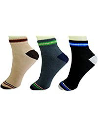 NeskaModa Men's Cotton Multicolor 3 Pair Ankle Length Socks