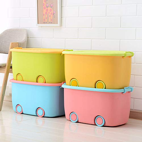 Ash & Roh® Set of 3 Big Size Plastic Stackable Organizer Storage Box with Wheels & Container Bin with Lid and Wheels for Kids Toys, Clothes - [ Random Color ]