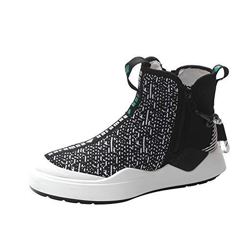 ODJOY-FAN Damen Bewegung Einzelne Schuhe,Freizeit Eben Sportschuhe Licht Gewicht Seite Reißverschluss Schuhe Weich Unterseite Casual Turnschuhe Runder Kopf Laufen Schuhe(Schwarz,36 CN)