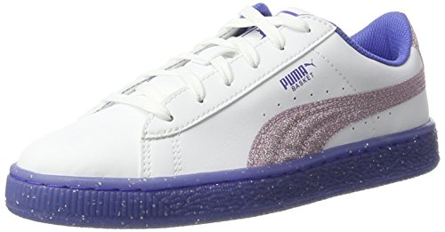 Puma Basket Iced Glitter 2 Jr, Sneakers Basses Mixte Enfant Blanc (White-smoky Grape)