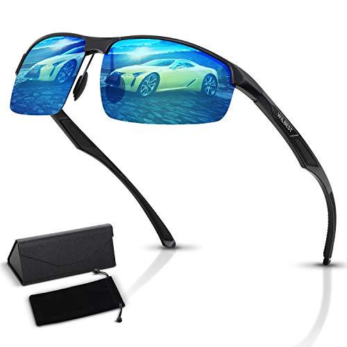 Wilbest Herren Polarisiert Sonnenbrille, Al-Mg Metall Rahmen Ultra Leicht 100% UV400 Schutz Coole Outdoor Sportbrille, Ski Fahren Golf Laufen Radsport Rahmen, Schwarz und Blau, Vatertag, Geschenk Box