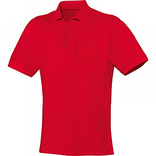 JAKO Polo Team mit Brusttasche, Größe:XL, Farbe:rot - Team Farbe Piqué Polo