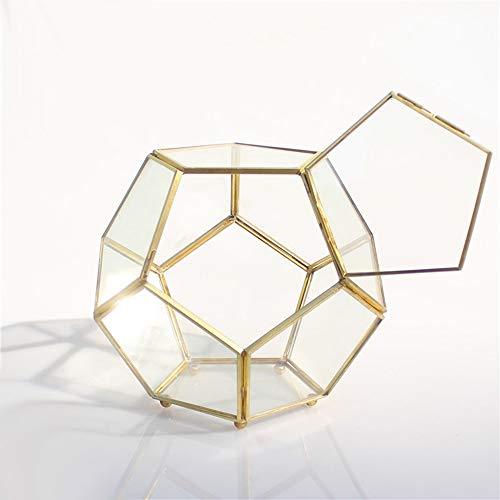 MINGZE Schließen-Beiner Gold Kupfer Messing Glas Geometrische Terrarium mit Tür Pentagon Ball Form Schließen Farn Moos Sukkulente, Übertopf Display Topf Box 18 x 18 x 16 cm.