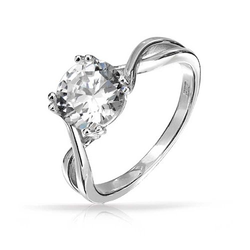 Bling Jewelry Sterling Silver Twist Round 2ct Solitaire CZ Engagement - 2ct Ring Engagement Cz