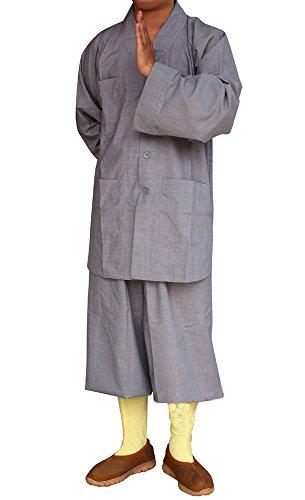 ZooBoo Buddistische Mönche Kostüme Robe - Chinesische Traditionelle Religionen Buddhismus Taoismus Kampfkunst Wushu Shaolin Kung Fu Langärmelige Bekleidung mit Stehkragen kulturelle Anzüge mit Jacken und Hosen graue Uniformen für Frauen und Männer