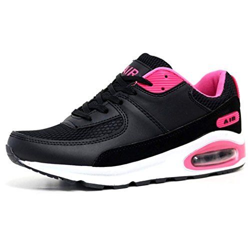 Ladies Running Trainers Air Tech Shock Absorbing Fitness Gym Sports Shoes Size 4 - 8 (LADIES UK SIZE 8, Black / Fuchsia)