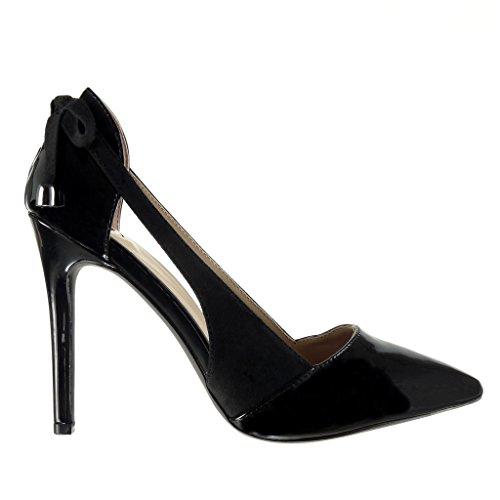 Angkorly - Chaussure Mode Escarpin stiletto ouverte Decolleté femme lanière métallique noeud Talon haut aiguille 10 CM Noir