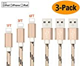 Auswaur Phone Charger Cable 3Pack 0.25m/1FT & 1M/3ft & 2M/6ft Nylon Braided USB Charging Charger Cord Cable Compatible Phone X 8 7 6 6s Plus 5 5s SE-Gold