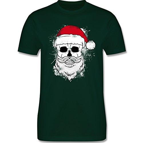 Weihnachten & Silvester - Totenkopf mit Weihnachtsmütze und Bart - Herren Premium T-Shirt Dunkelgrün