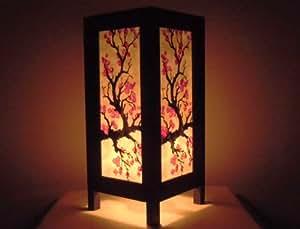 Rare Asie thaï Lampe de Tables Bouddha Style Chevet Rouge Sakura Fleur Par Thaïlande