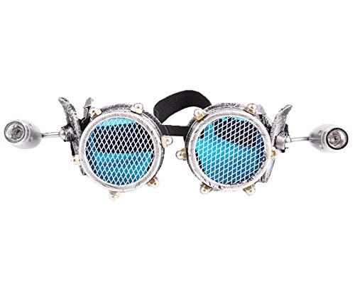 Rivet Goggles Steampunk Schutzbrille Partybrille Rave Kostümzubehör Musikfestival Punk Cyber Goth Cosplay Gläser Sonnenbrille Mit Led Licht für Damen und Herren