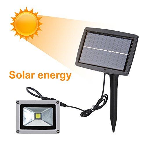 10W Solar Energie LED Scheinwerfer aufladbare Garten-Strahler wasserdicht Haus Garten Landschaftsbild Lampe Nachtlicht (Warmweiß)