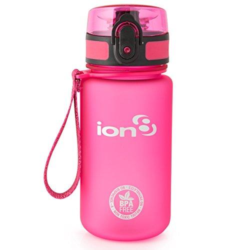 ion8 Botella de agua, sin BPA, a prueba de fugas, Rosa (Frosted Pink),