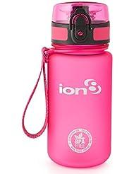 ion8 Botella de agua, sin BPA, a prueba de fugas, Rosa (Frosted Pink), Capacidad 350 ml